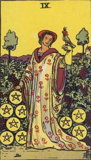Nine of Pentacles Tarot card