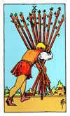 Tarot Minor Arcana card: Ten of Wands