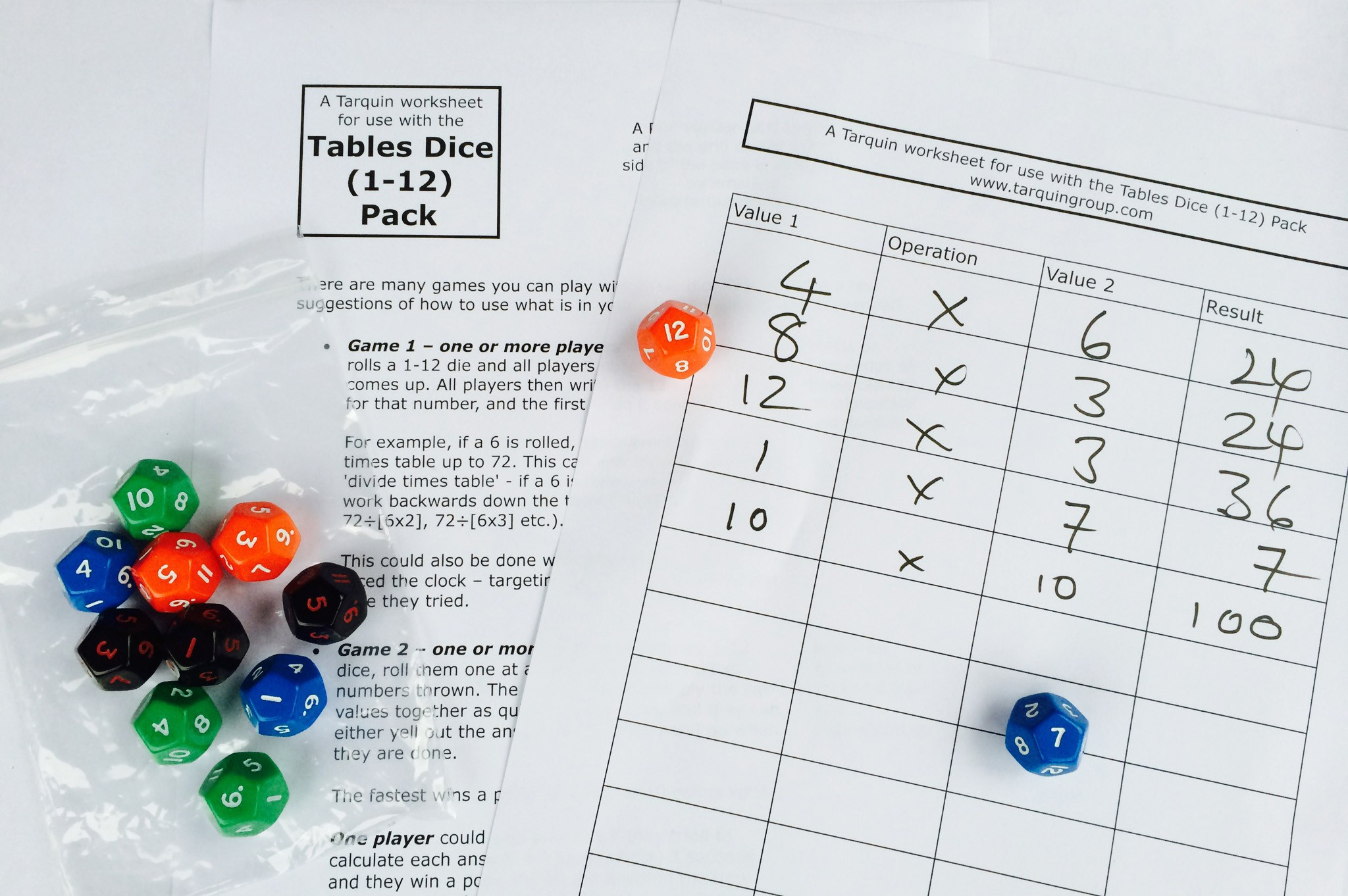 Multiplication Tables Dice Pack Up To 12 Times Tables