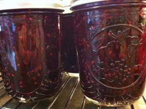 The finished jam in sealed jars.