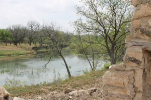 The San Saba River at the back of the fort.
