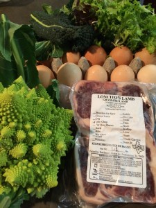 My haul from Boggy Creek: Eggs from Coyote Creek Farm, Lamb Chops from Loncitos, Maria's Brassica Salad, Baby Lettuce Mix, Romanesco