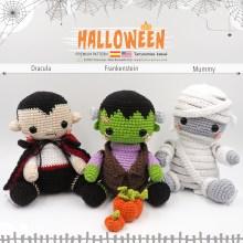 Halloween kawaii: Dracula, Frankenstein, Mummy