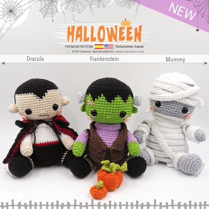 Halloween kawaii: Dracula, Frankenstein, Mummy