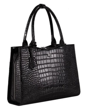 Socha Croco Jet Black – Businesstasche