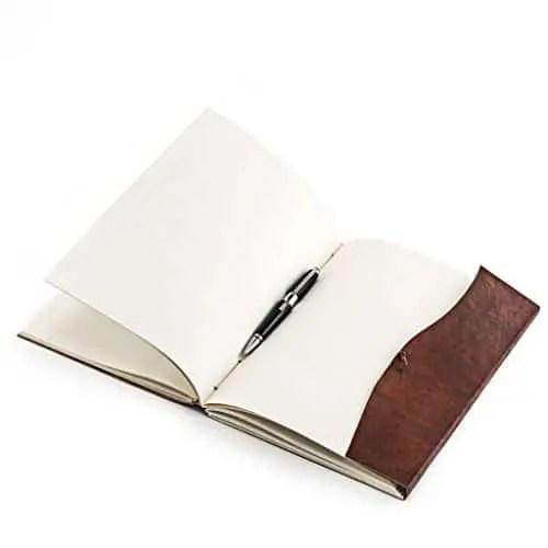 Tagebuch Leder offen