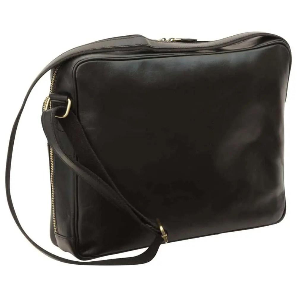 Rückseite Große Laptoptasche aus Leder Schwarz