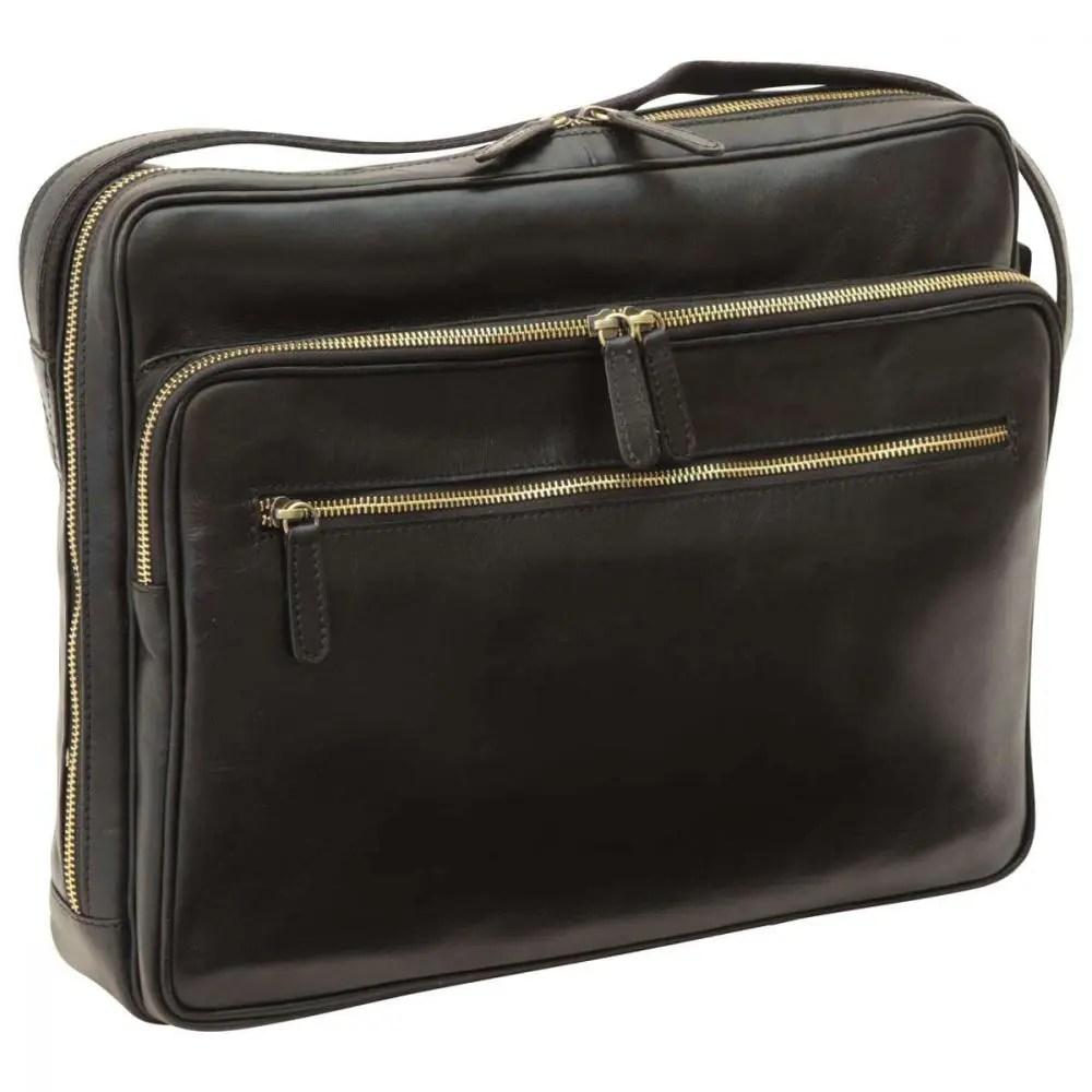 Front Große Laptoptasche aus Leder Schwarz