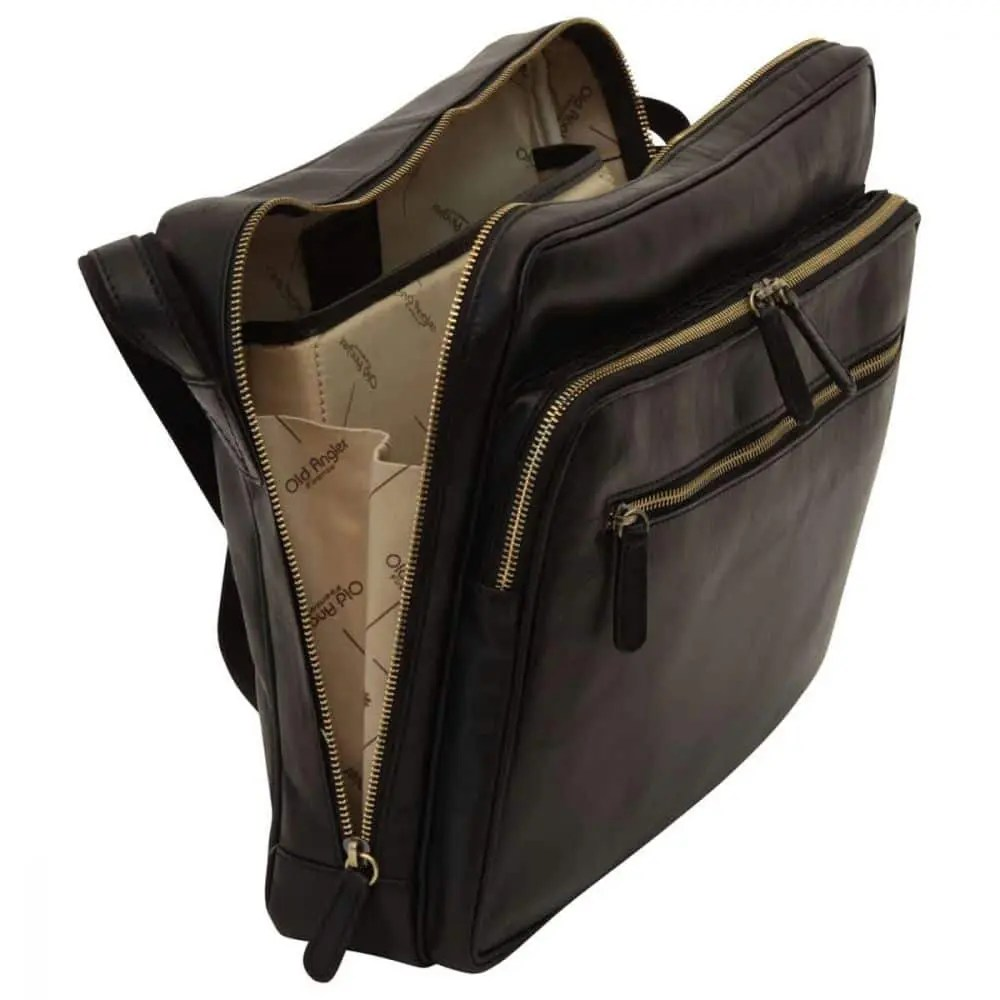Offene Große Laptoptasche aus Leder Schwarz