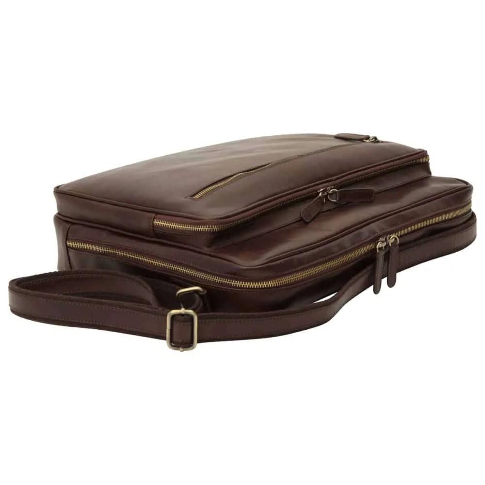Liegende Große Laptoptasche aus Leder Dunkelbraun