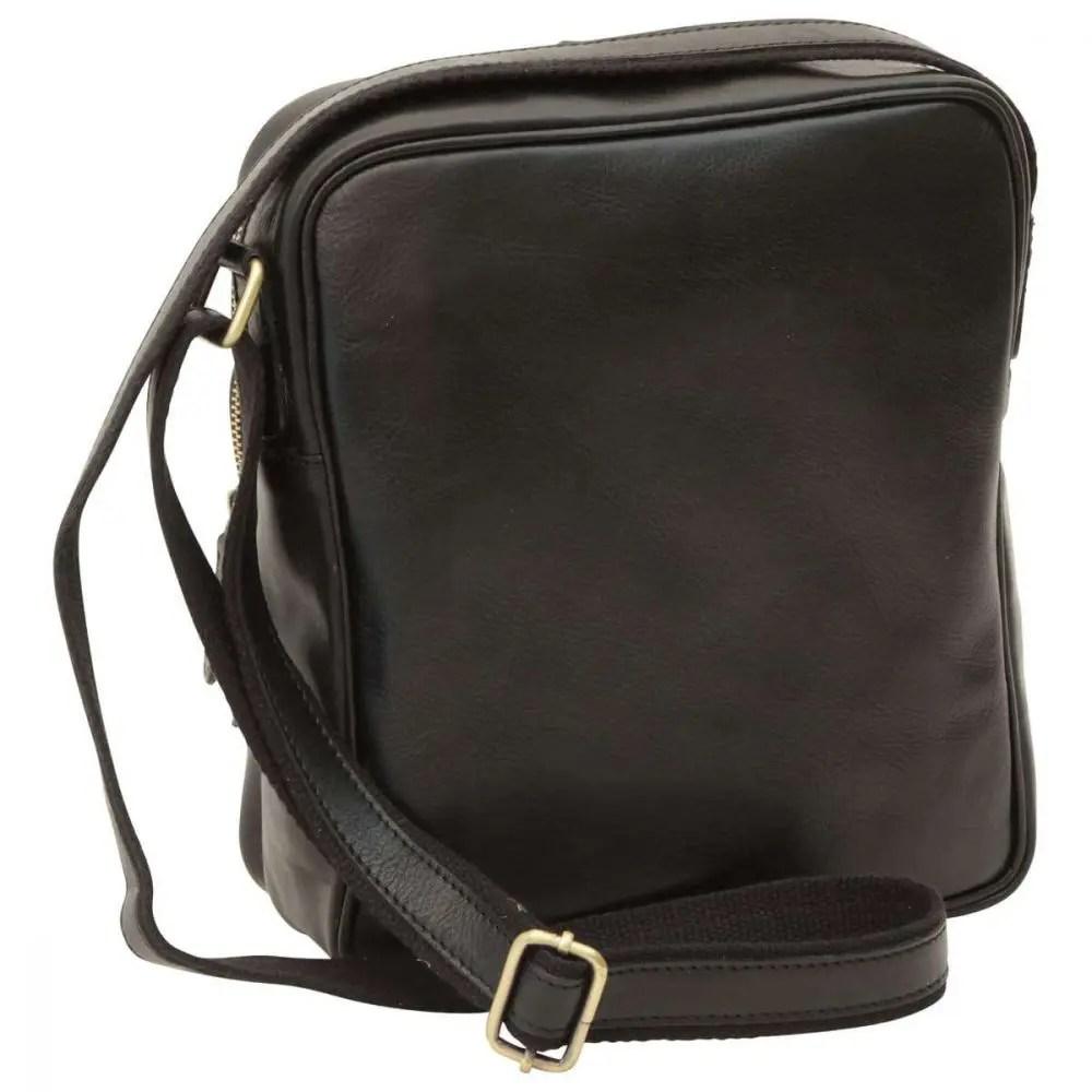 Rückseite kleine Laptoptasche aus Leder Schwarz