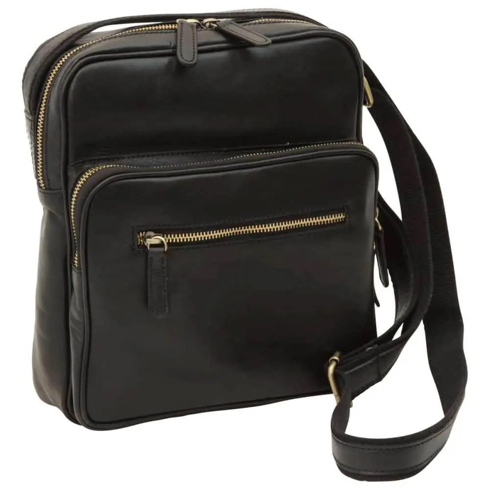 Front kleine Laptoptasche aus Leder Schwarz