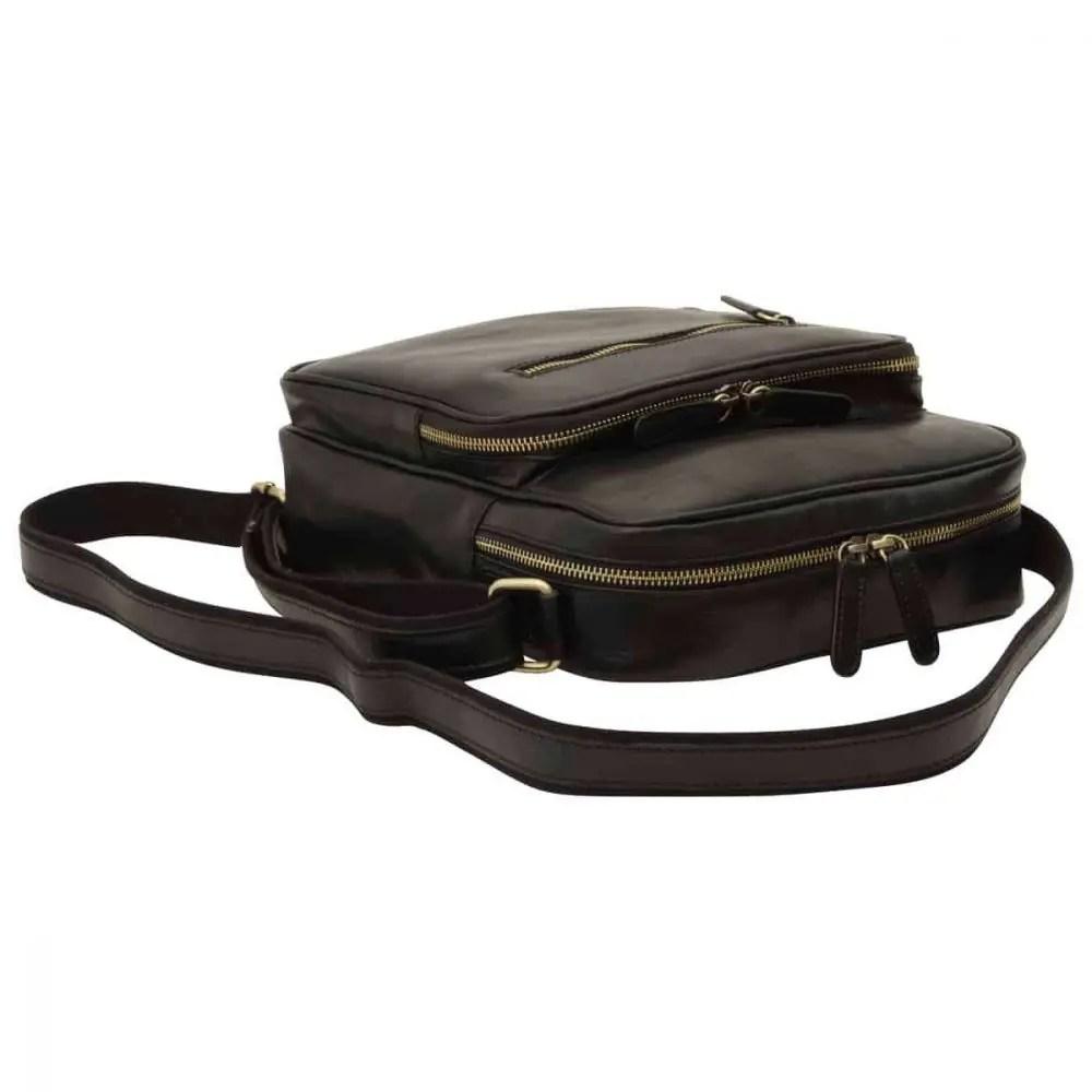 Liegende kleine Laptoptasche aus Leder Schwarz