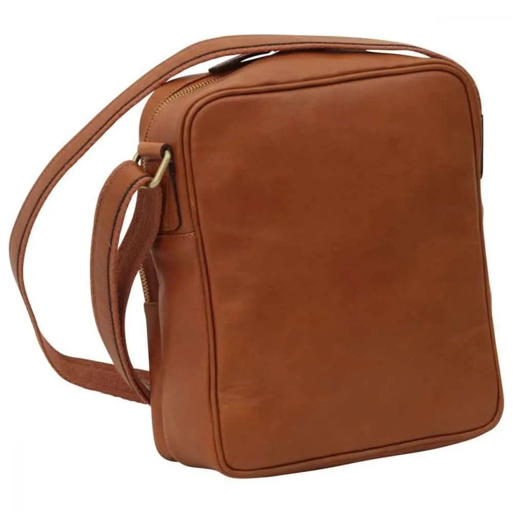 Rückseite kleine Laptoptasche aus Leder kolonial