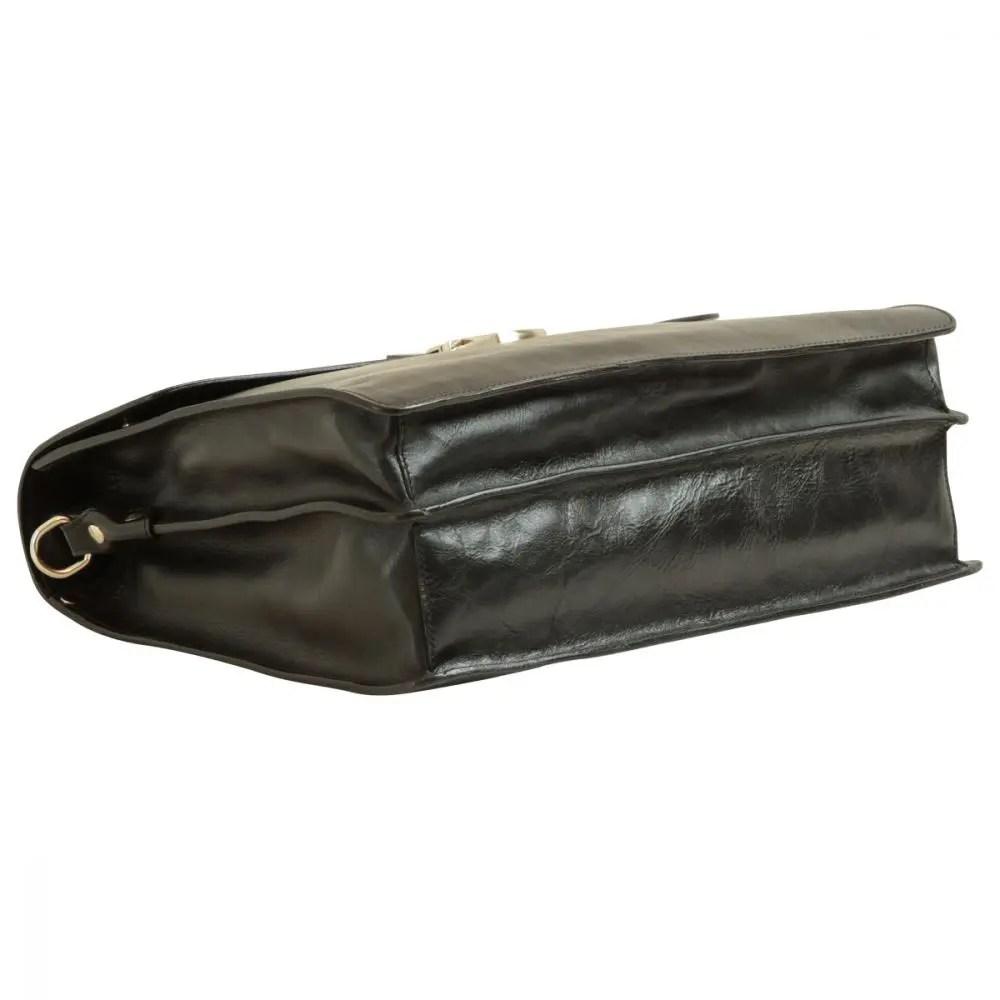 Liegende Lederaktentasche schwarz