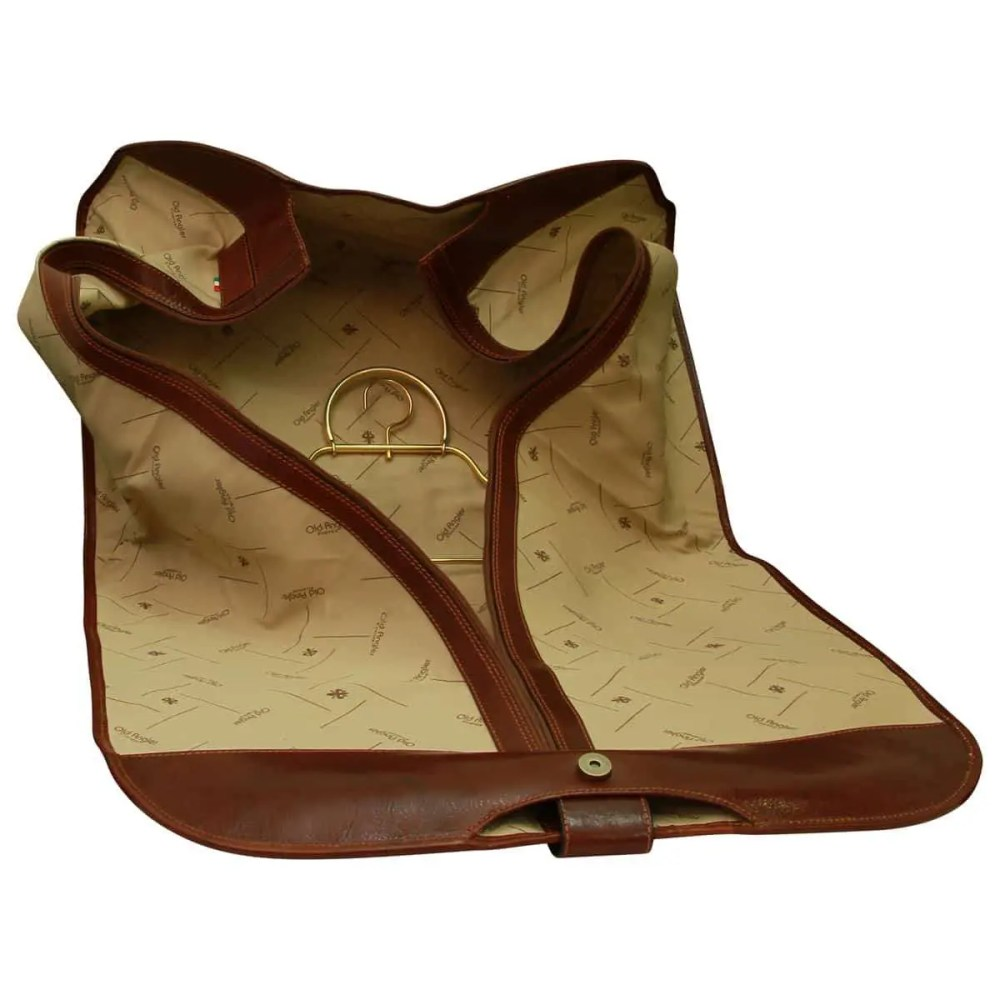 Leather Garment Bag Brown open