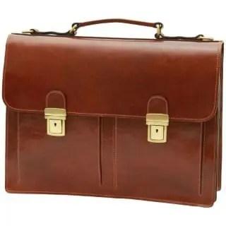 Lederaktentasche mit 2 Fronttaschen