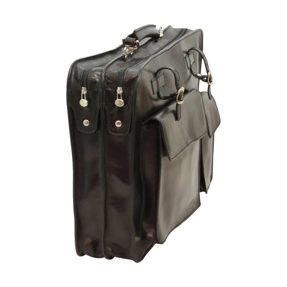 Schwarze Ledermappe mit Fronttaschen Seitenansicht