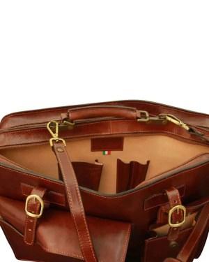 Lederaktentasche mit Fronttaschen