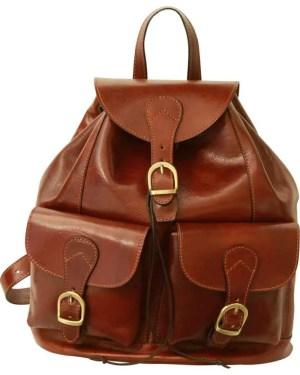 Lederrucksack mit 2 Außentaschen