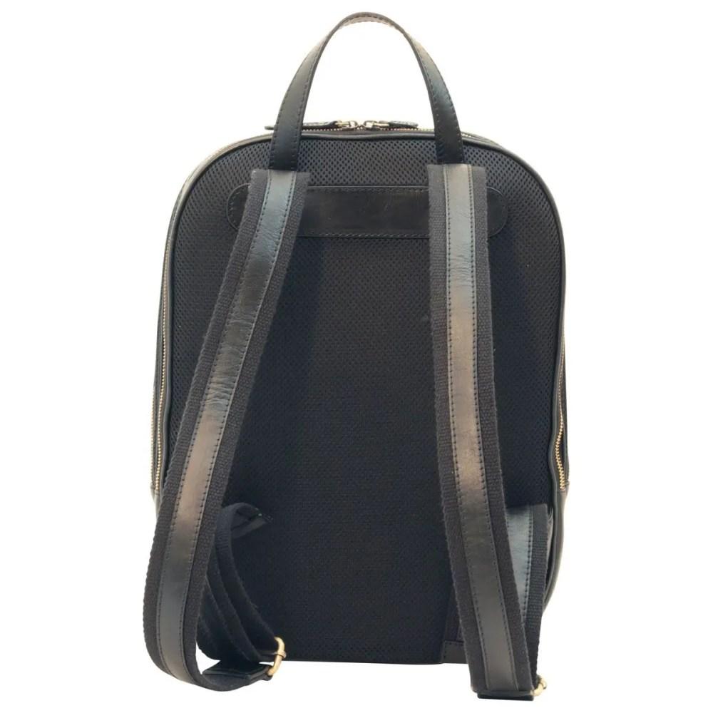 Rückseite Lederrucksack 13 Zoll Laptop Black