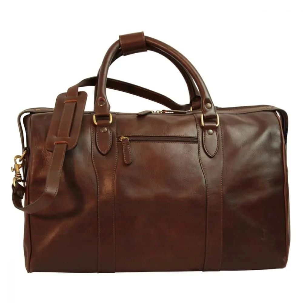 Front Reisetasche mit Schultergurt dunkelbraun