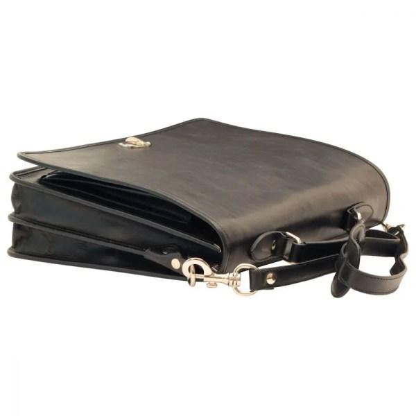 Liegende Aktentasche aus Leder schwarz