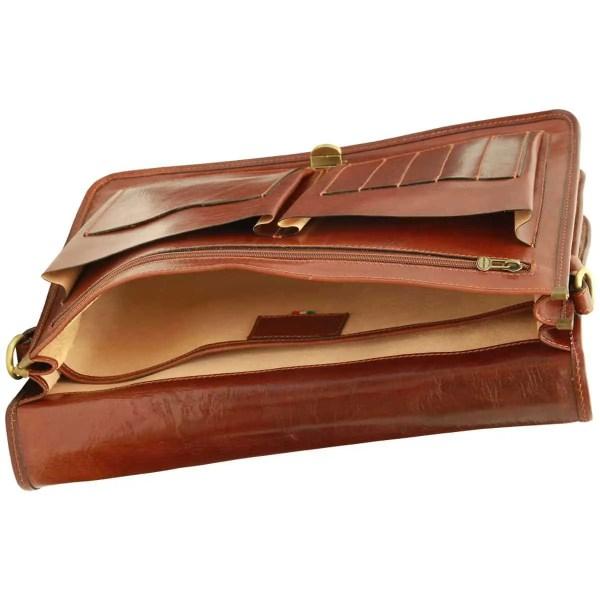 Liegend Aktentasche aus Leder braun