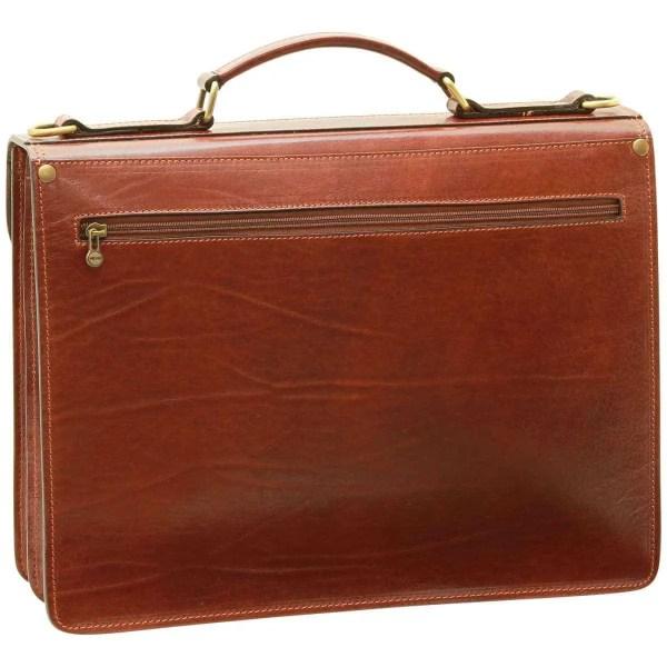 Rückseite Aktentasche aus Vachetta-Leder