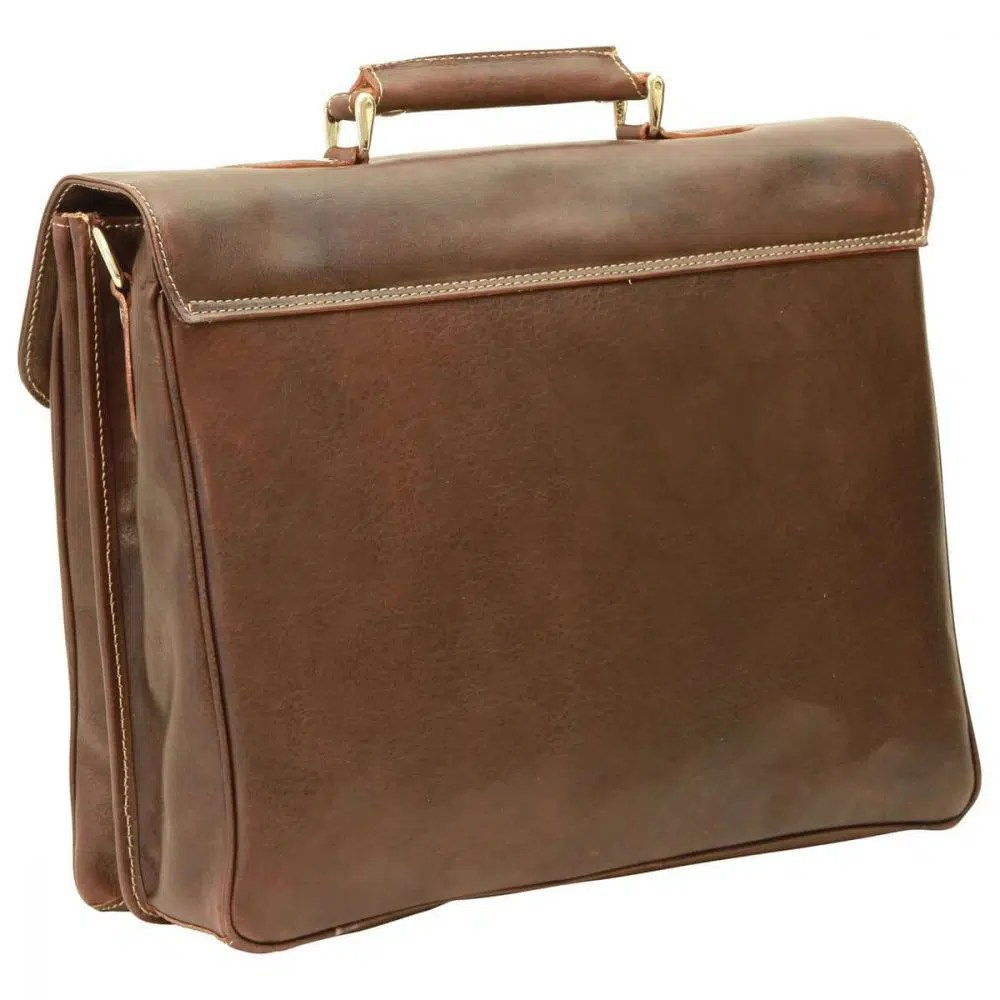 Rückseite Laptoptasche 16 Zoll mit Schulterriemen dunkelbraun