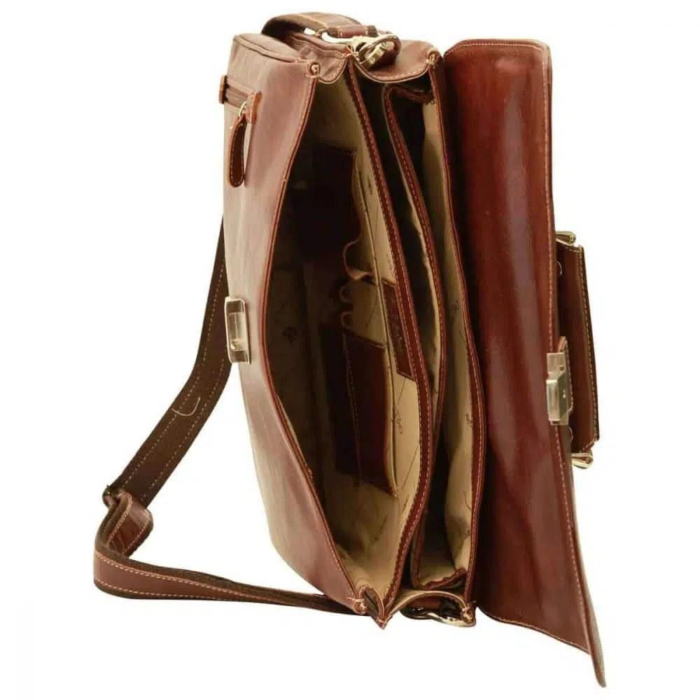 Liegende Laptoptasche 16 Zoll mit Schulterriemen Kastanie