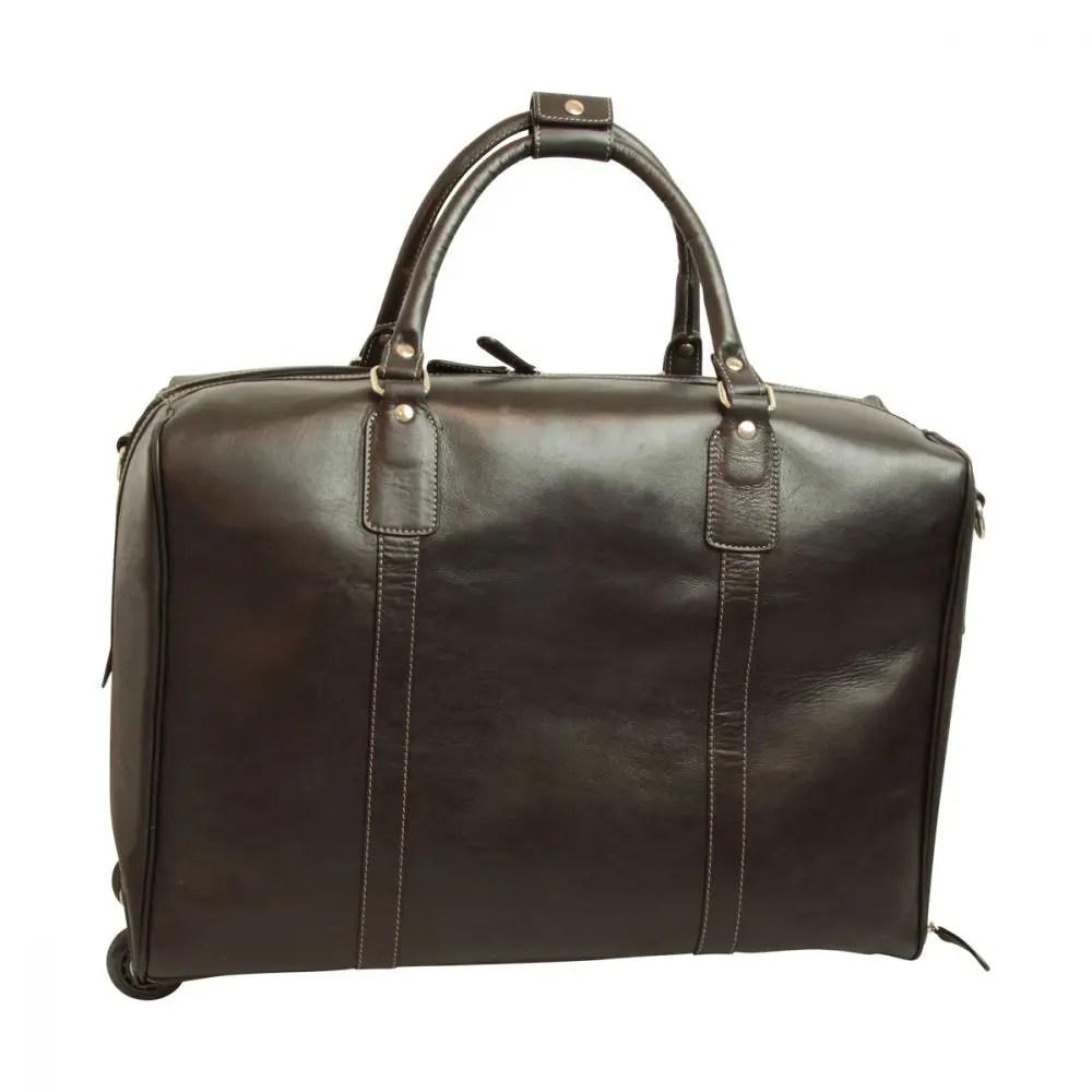 Front Duffle Bag geöltes Kalbsleder schwarz