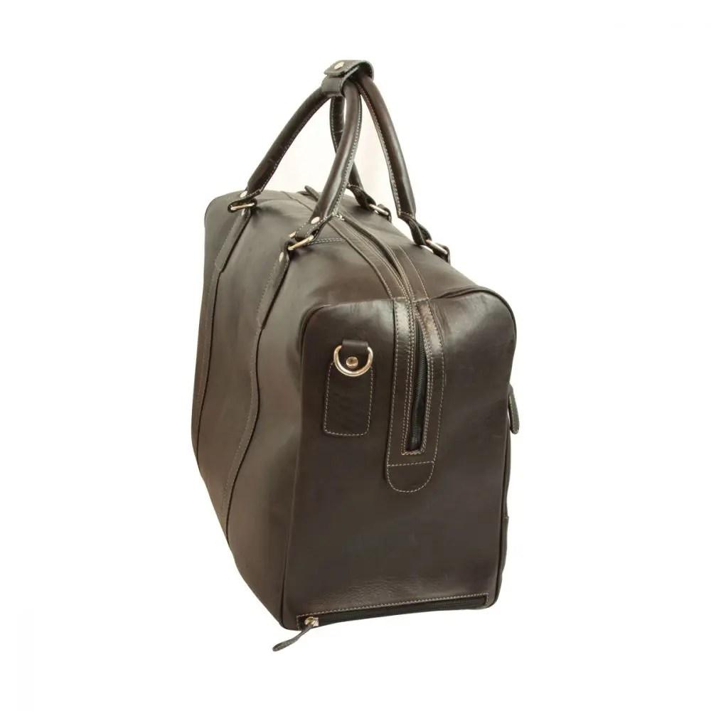 Quer stehende Duffle Bag geöltes Kalbsleder schwarz
