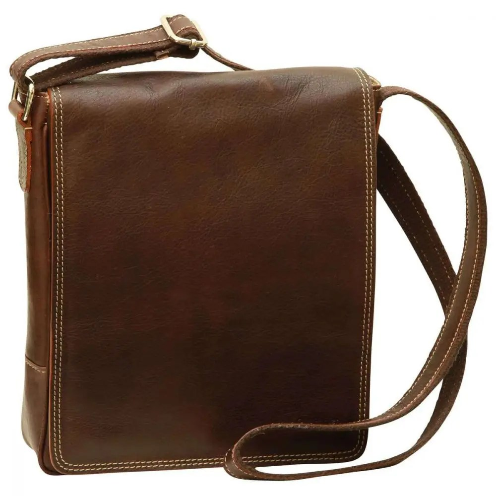 Front IPad Tasche aus Leder Dunkelbraun