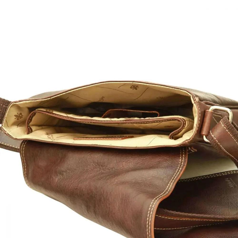 Liegende IPad Tasche aus Leder Dunkelbraun