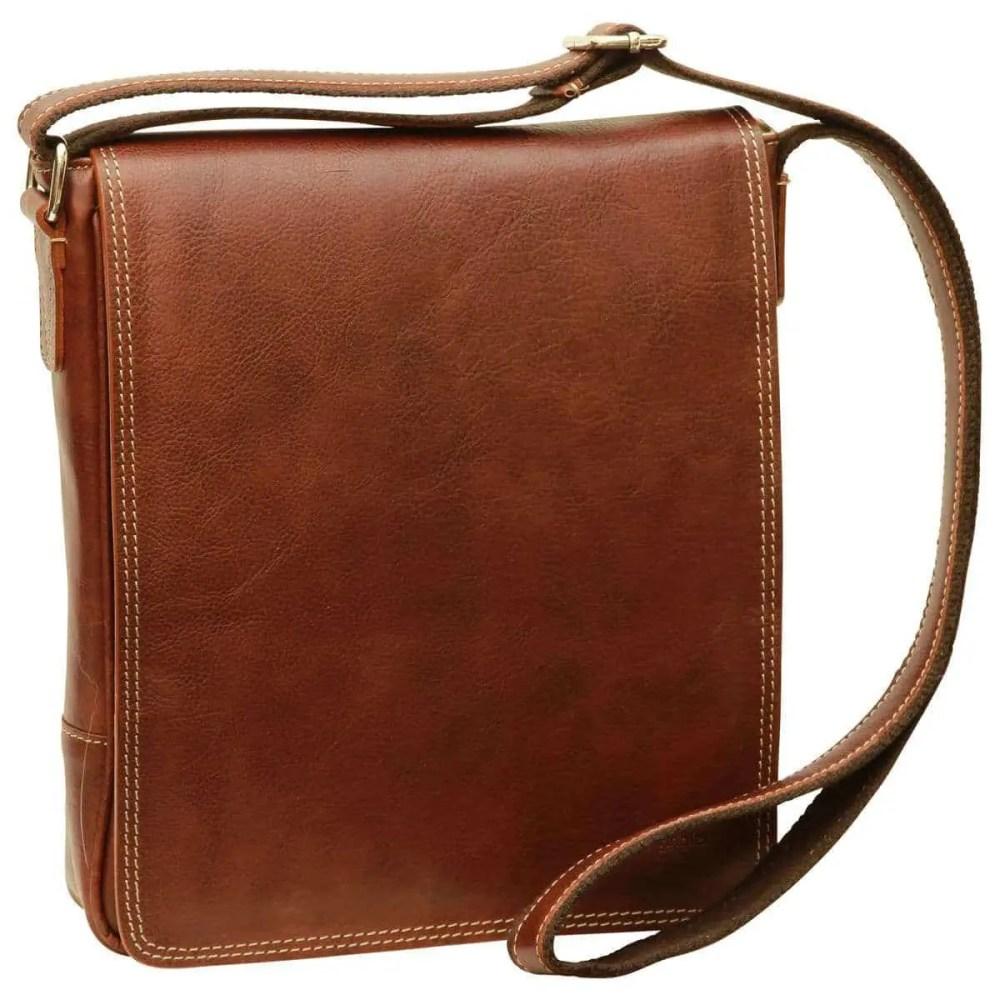 Front IPad Tasche aus Leder Kastanie