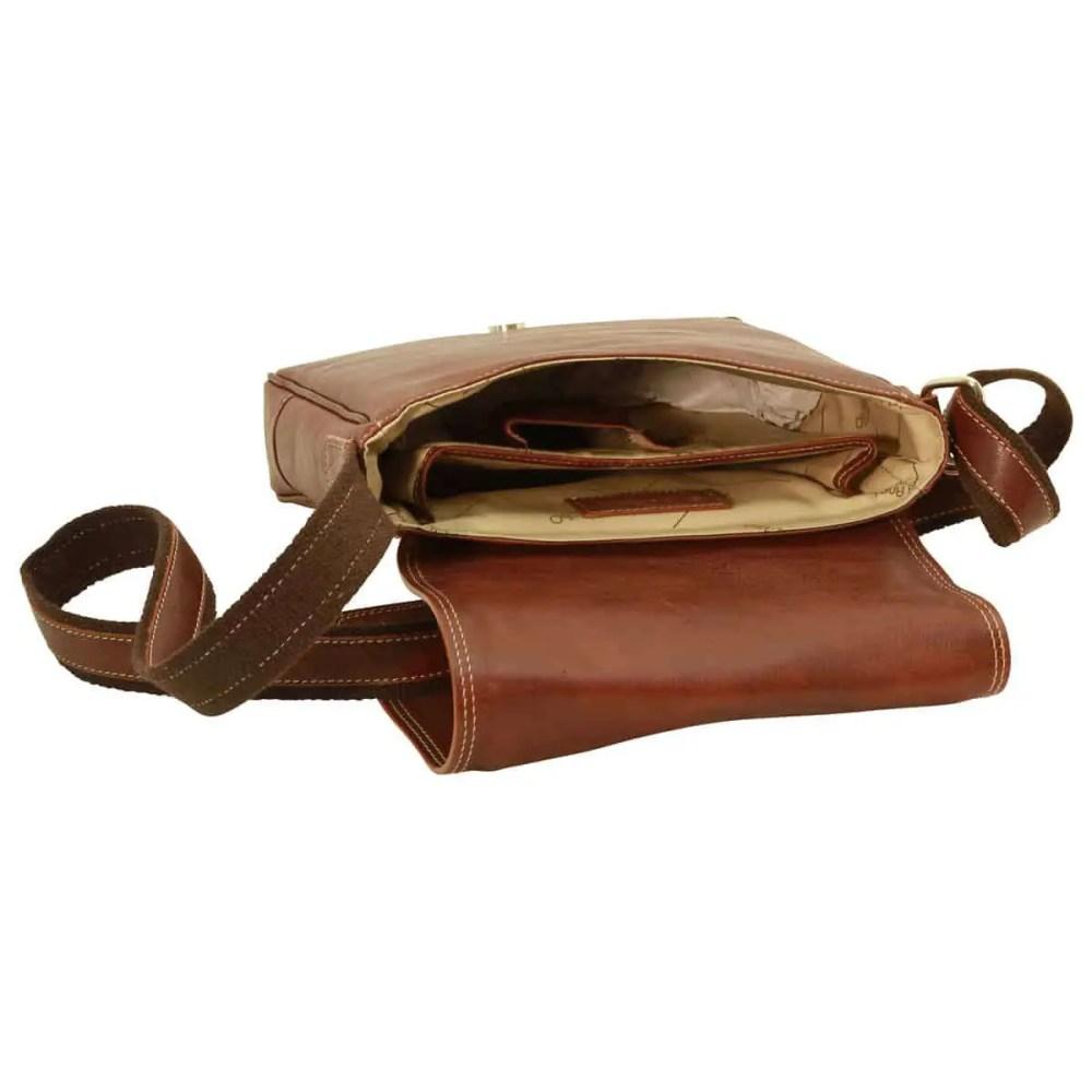 Liegende IPad Tasche aus Leder Kastanie