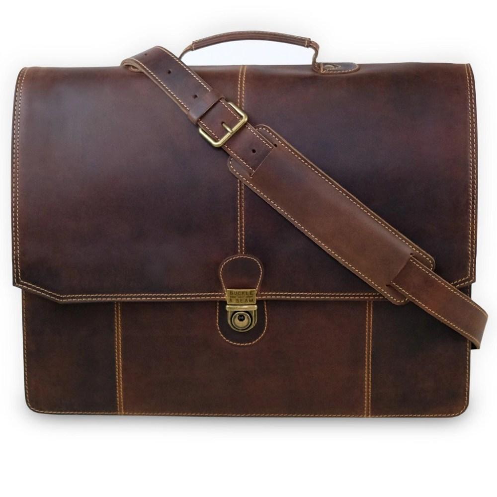Leder Briefcase Sierra Braun mit Gurt