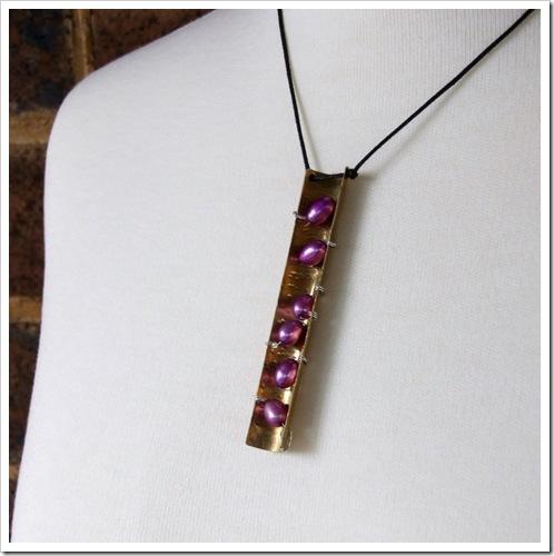 Purple Freshwater Pearl & Brass Pendant_04