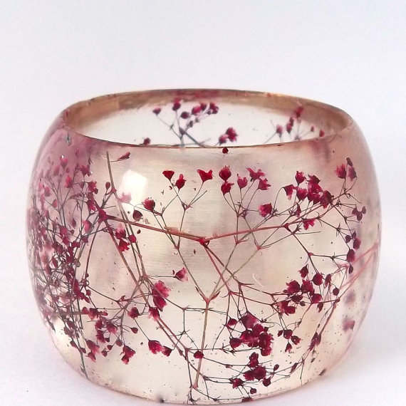 Super Chunky Red Botanical Resin Bangle