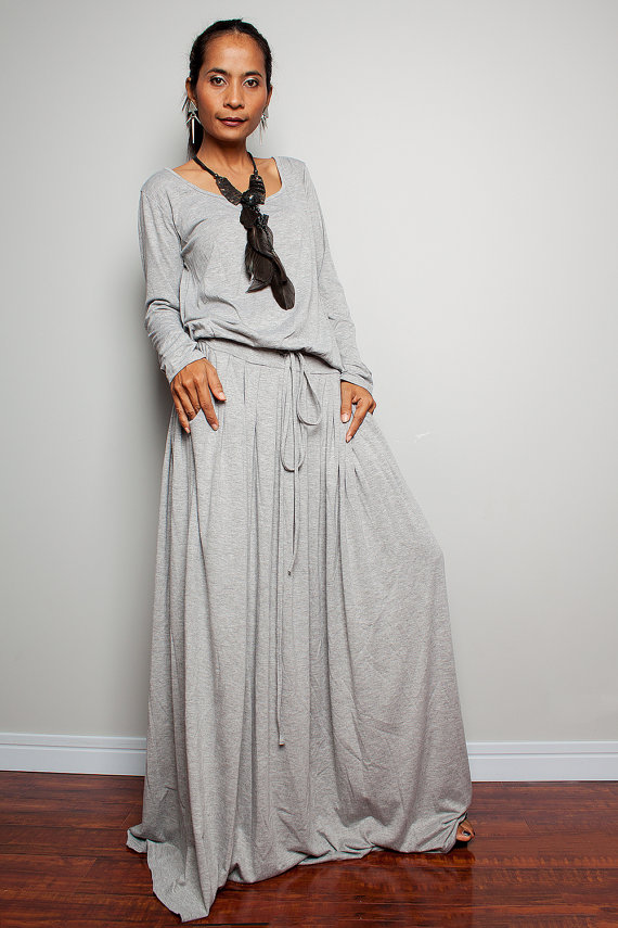 maxi dress in grey