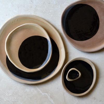 Black on Natural Handmade Ceramic Plates