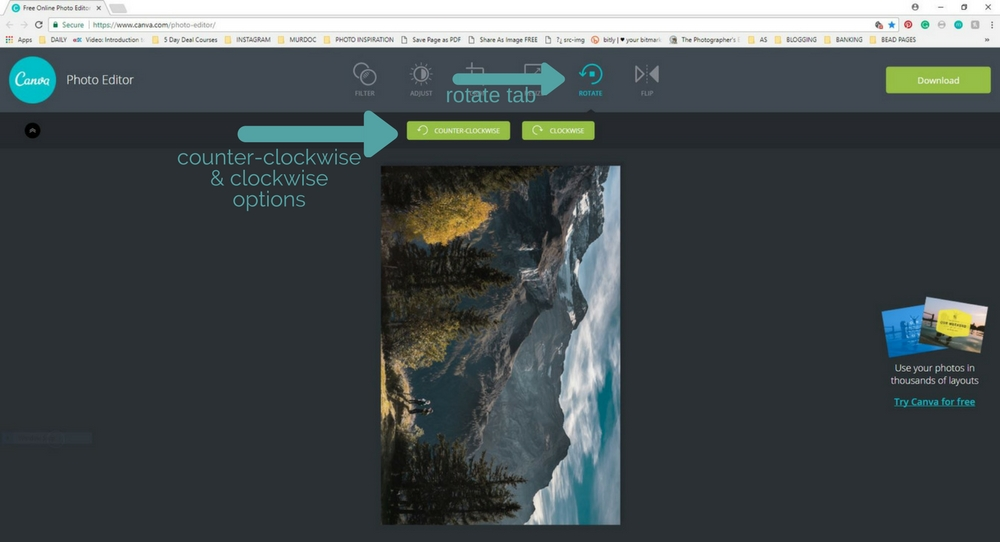 how do i rotate images in canva photo editor