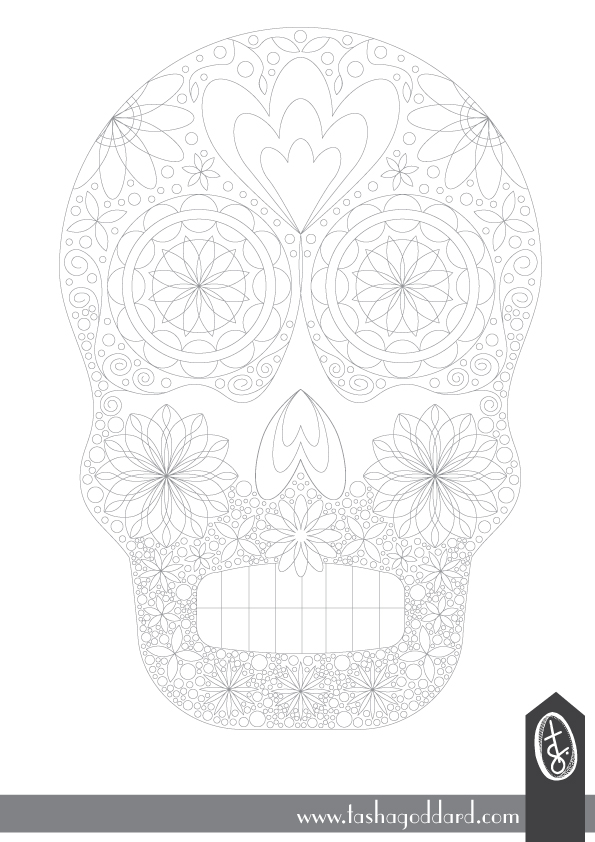 Free Sugar Skulls Colouring Page