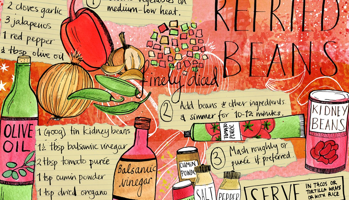 Refried Beans illustrated recipe by Tasha Goddard