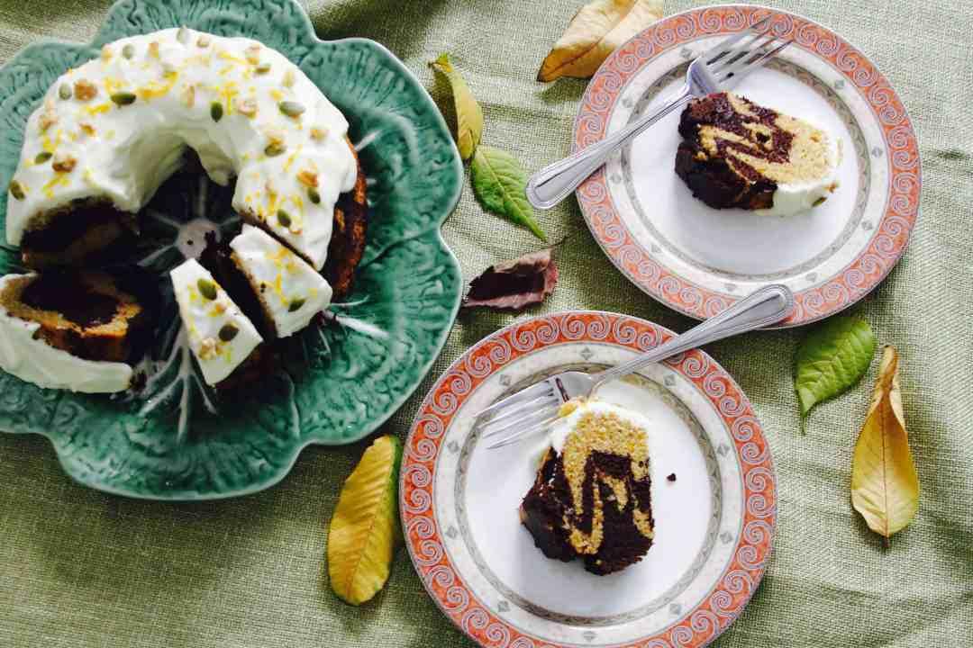 Pumpkin Chocolate Swirl Cake w/ Orange Cream Cheese Frosting