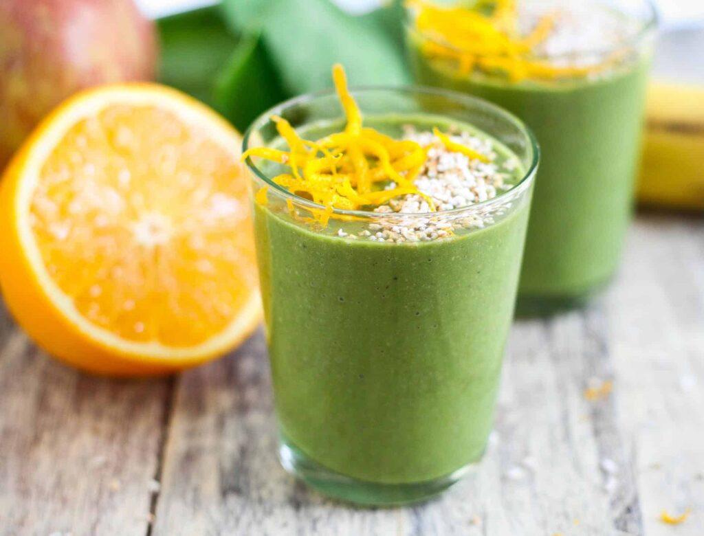 Green Smoothie, vegan, sugar free, vegetarian, healthy, protein rich, spinach, dairyfree