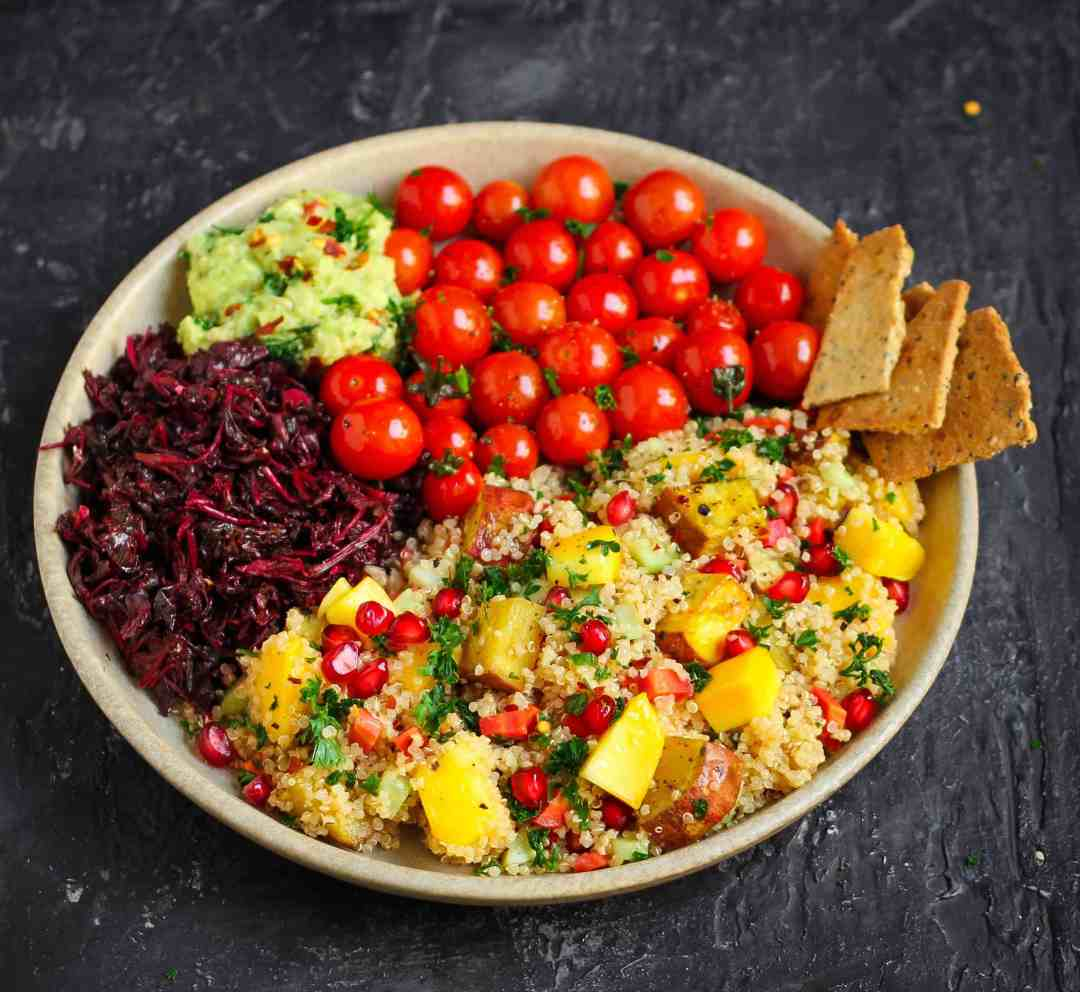 Quinoa Sweet Potato Mango Salad vegan healthy pomegranates vegetarian main dish summer