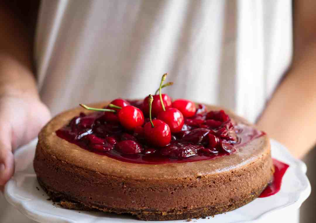 Chocolate Hazelnut Cheesecake w/ red wine cherry sauce | Dessert