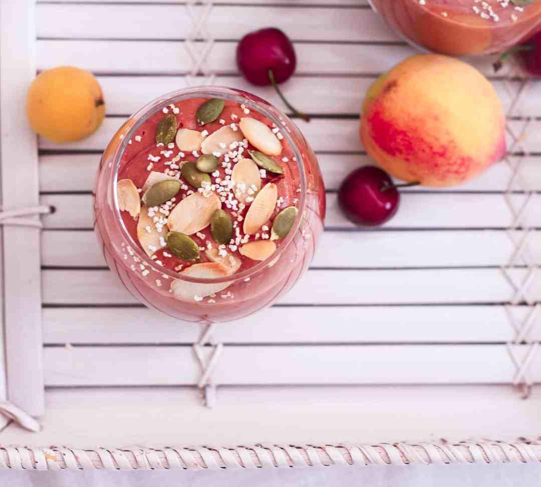 Apricot Mango Cherry Smoothie healthy summer breakfast easy recipe yogurt nourish